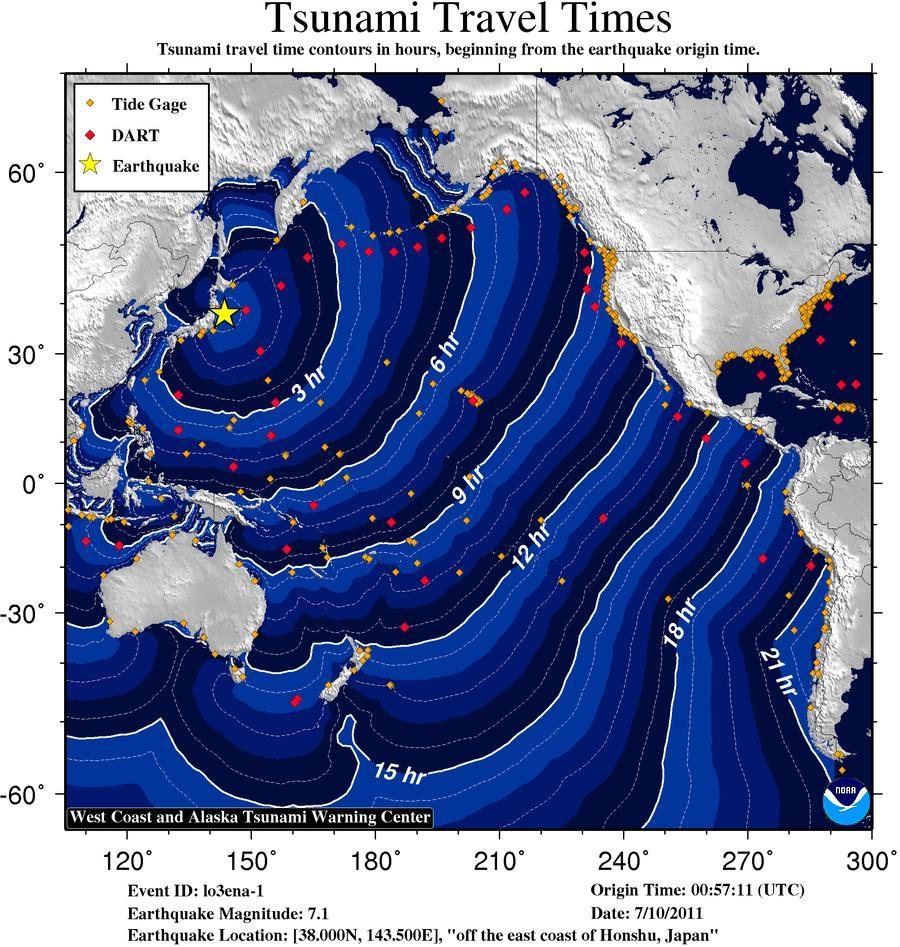 Tsunami Travel Time Map